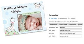 Add a new baby photo to your cards