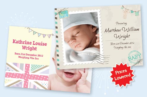 Birth announcements printed in the UK